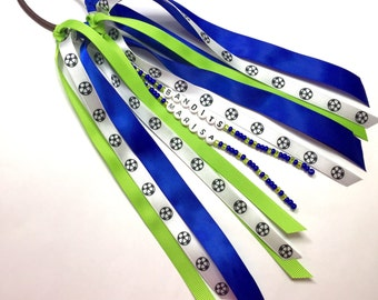 Personalized ponytail holder. Hair tie ribbon streamers, name or team name. Team spirit, choose your colors! Soccer ribbon ponytail holder