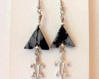 Earrings Gemstone Earrings Dangle Earrings Snowflake Obsidian Lizard #019