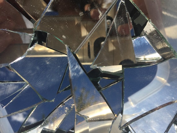 Mosaic tiles broken mirror glass shards pieces tesserae by for What to do with broken mirror pieces