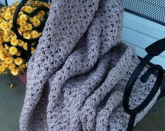 Hand Crocheted Decorative Afghan Blanket Throw Shell Oatmeal