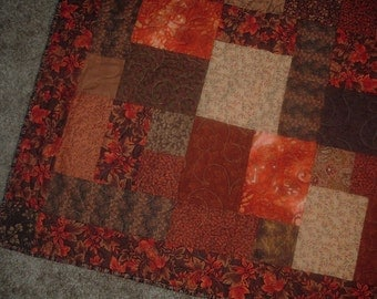 Autumn Colors Wall Hanging Lap Quilt 58 x 68 inches