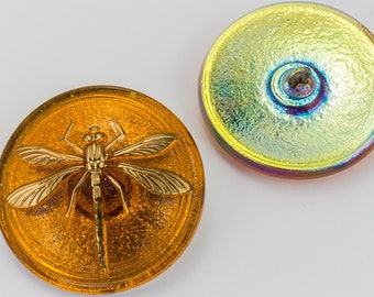 31mm Amber Dragonfly Button #BUT015