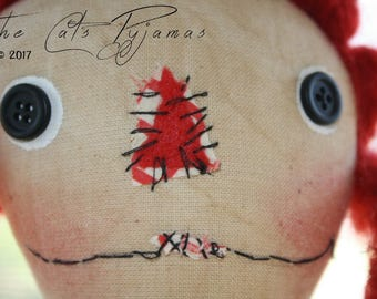 Folk Art Raggedy Ann Doll primitive hand-stitched face wool hair vintage feedsack dress Rag Doll Cloth