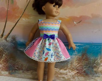 "18"" Doll Dress Sundress V1 Featuring Moda Rainy Day Designer FabricsNEW Item Will Fit AG"
