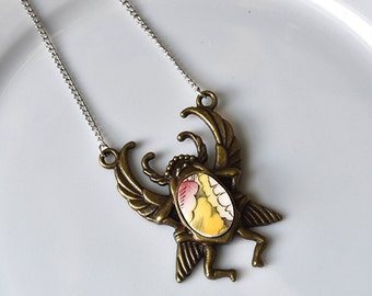 Antique brass Egyptian Scarab Broken Plate Pendant - Red and Yellow - Recycled China