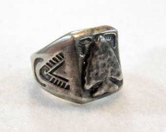 Hand Stamped Native Arrow Head Ring - Sterling