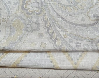 CLEARANCE - 3 pieces yellow grey taupe  fabrics, 7.5 x 9 inches