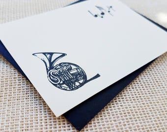 Letterpress Enclosure Card - French Horn