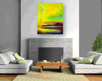 Abstract Oil Painting ORIGINAL Artwork Large Yellow Modern 36x30  by BenWill