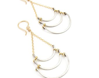 Mixed Sterling Triple Swing Earrings- sterling silver, gold fill.