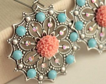 Chelsea Earrings - Antiqued Silver - Swarovski Crystals & Pearls - Surgical Steel Kidney Earwires