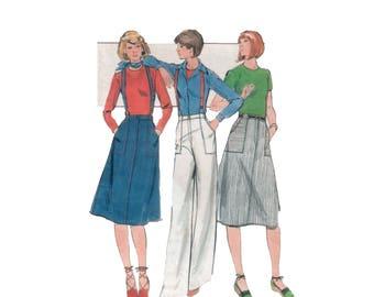 70s Wide Leg Pants pattern Aline Skirt pattern Jean Skirt pattern vintage Waist 30 inches Butterick 5244