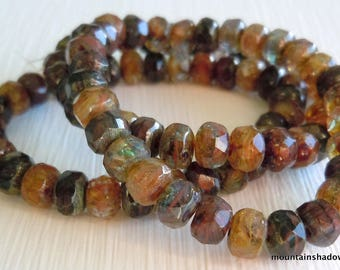 Picasso Czech Glass Beads Czech Rondelle Beads 3x5mm Earthy Picasso - 30 pcs (G - 176)