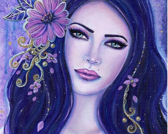 A flower in the night woman portrait floral print fantasy art by Renee L. Lavoie