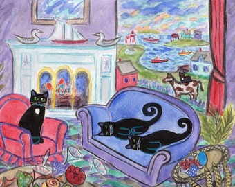 ORIGINAL FOLK ART, Black Cats with Bay Pony and Loons having Fireplace Fish Fry Lunch after they Rest up a While, by D M Laughlin