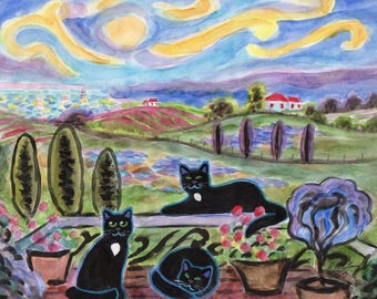 ORIGINAL PAINTING, 3 Black Cats at Their Place in Tuscany having a Break and Soaking up the Sun, by DM Laughlin