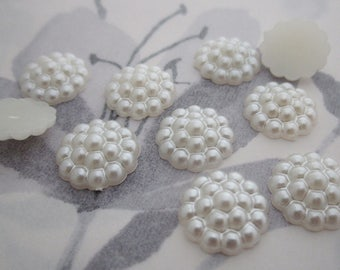 30 pcs. pearlized plastic bumpy flat back cabochons faux pearl 13mm - r303