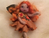 Needle felted little flower fairy red hair, yellow orange colors fairy figure
