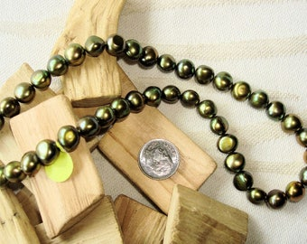 "1 Strand FRESH WATER PEARLS - 16"" - 8-9mm - Potato - Center-Drilled - Olive with Copper Highlights"