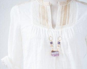 Long Amethyst Gemstone Necklace, Amethyst Slice Necklace, Druzy Statement Gemstone Necklace