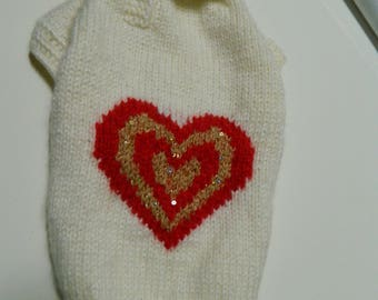 dog sweater hand knit and crafted to the  measurements of your pet so that it fits properly - other colors are possible