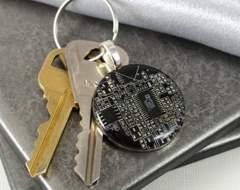 Circuit Board Keychain, Computer Engineer Gift, Fathers Day Gift, Wearable Technology, Information Tech, Black Key Fob, Geek Gift for Him