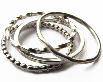 HOLIDAY SALE Quattro Rings - Four Stacking Bands in Sterling Silver Narrow Simple Ring