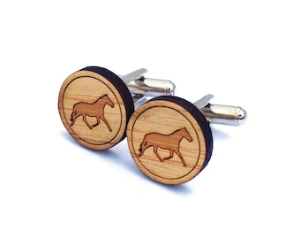 Horse Cufflinks. Wood Cufflinks. Cowboy Cufflinks. Groomsmen Gift. Groom Gift. Gift For Men. Mens Gift. Gifts For Dad. Stallion. Equine.