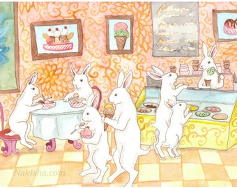 RESERVED for LS - Original Art - Ice Cream - Watercolor Rabbit Painting