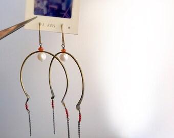 Large Arc Hoop Earrings, Statement Hoop, Joan of Arc Earrings, Pearl Carnelian Hoop Earrings