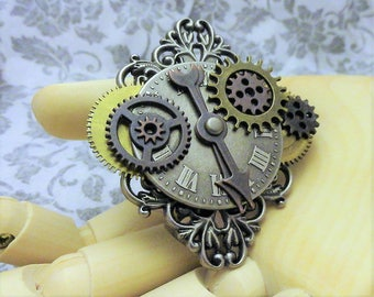 Steampunk Brooch Pin Badge Hat Pin Lapel Pin Shawl Pin Copper Brass Compass Gears