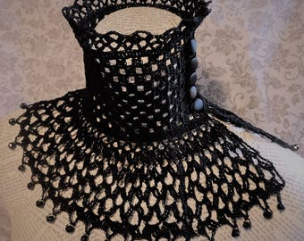 Black Lace Crochet Choker Victorian Noir Mourning Steampunk Goth Wiccan Halloween