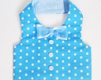 Dog Clothes Boy Dog Vest Turquoise Polka Dots Swaddle vest