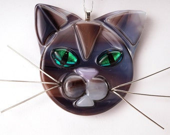 Chocolate cat glass ornament, cat lover, brown cat