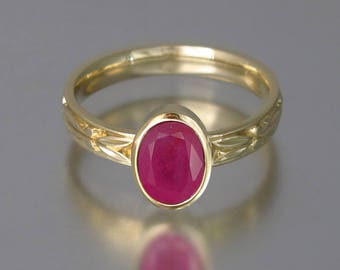 RESERVED for S. AUGUSTA 14k yellow gold ring with 2.6ct Ruby