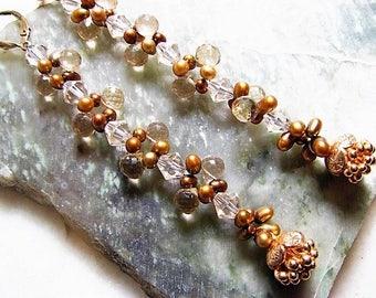 Champagne Citrine, Rose Gold Flower Charms, Freshwater Pearls, Peach Swarovski Crystal Earrings, Long