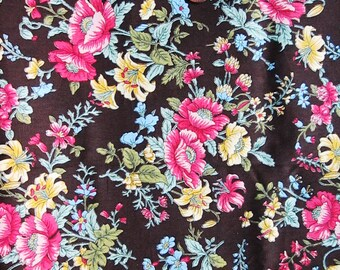 Cute Cotton Fabric - Brown Flower