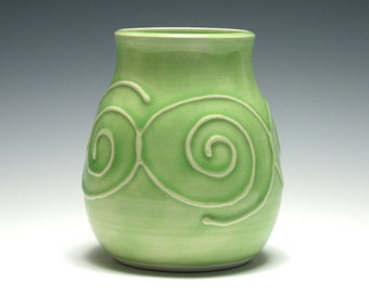 Light Green Vase, Small Ceramic Vase, Spiral Vase, Handmade Pottery, Home Decor