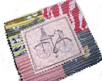 Fabric Patch, Quilt Block, Applique - Pink Bicycle