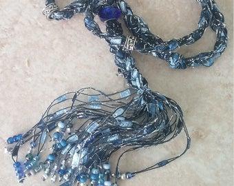 Beaded Trellis Necklaces, Blue
