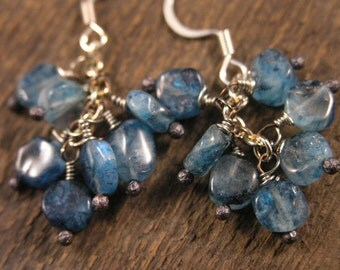 Turquoise moonstone and silver handmade earrings