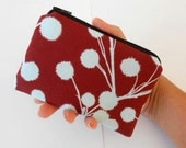 Little Zipper pouch Coin Purse Gadget Case ECO Friendly Padded NEW Chestnut Branches on Eggplant