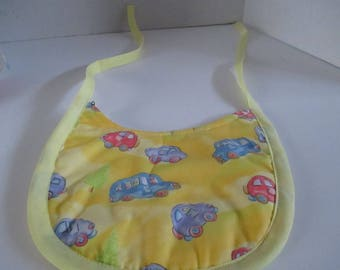 Baby bib, yellow with cars, backed with terry cloth, baby bib, baby accessory, baby shower, infants, newborns, drooling, spit up, feeding,