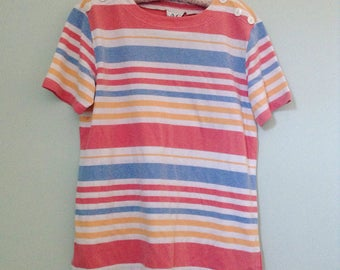 vintage striped button shoulder tshirt