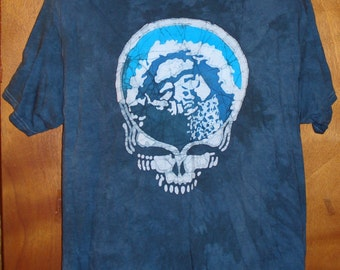 Grateful Dead Steal Your face Jerry Garcia Handmade Batik T-Shirt