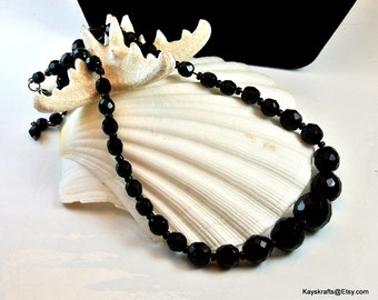 Black Facet Necklace, Vintage Black Bead Necklace, 1960 Choker Necklace, Black Glass Beads, 14 Inch Necklace, Gift For Her