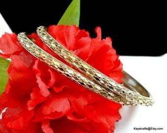 Silver Bangle Bracelets 2 Vintage Bangles Braided Silver Bangles Bangles