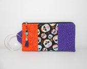 Skull Wristlet with Beaded Zipper Charm, Day of the Dead, Candy Skulls, Black Bangle Wristlet
