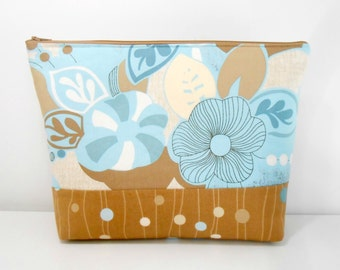 Large Cosmetic Bag, Surf and Sand Floral Make Up Bag, Blue and Sand Large Zipper pouch