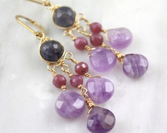 Iolite, Pink Ruby and Amethyst Gold Wrapped Chandelier Earrings